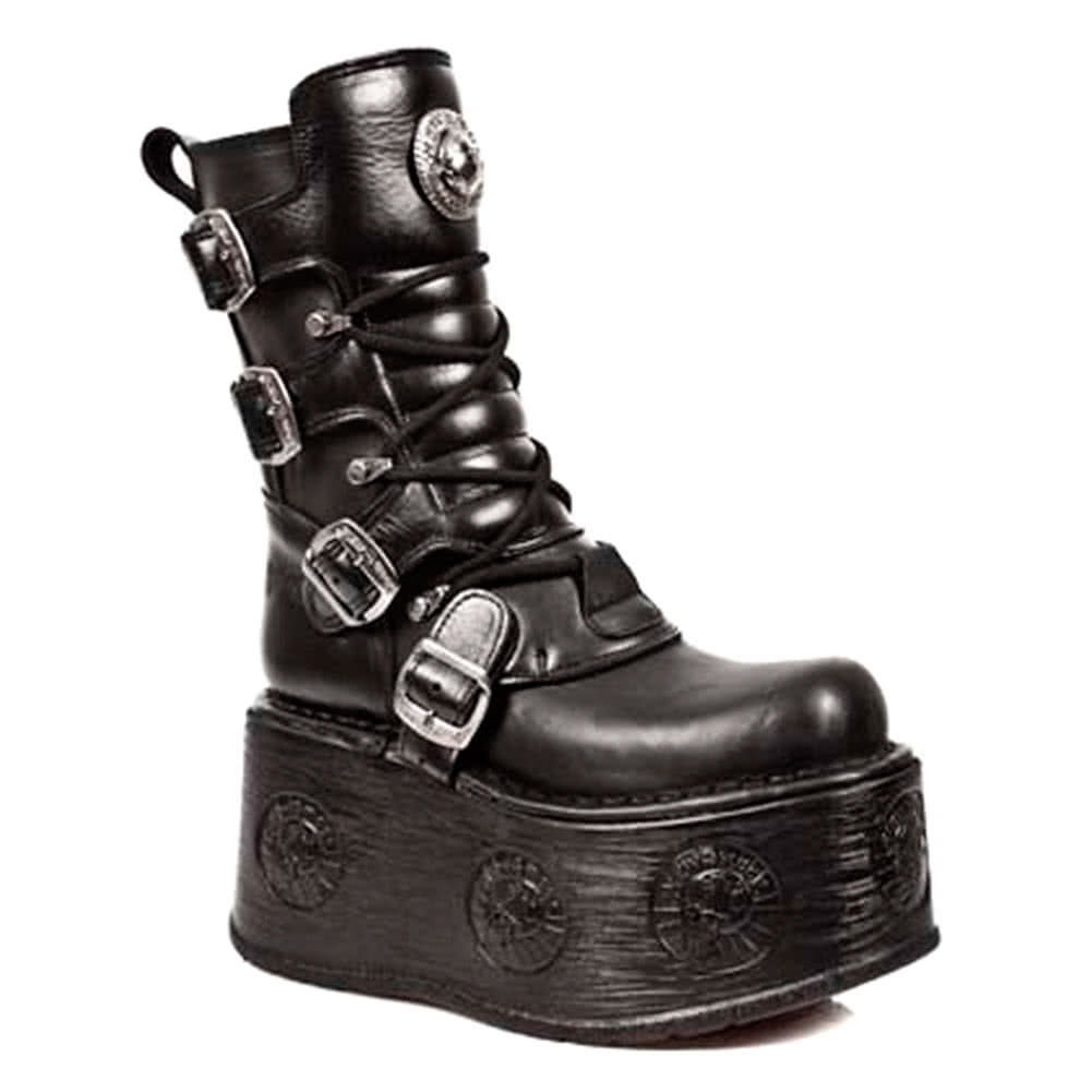 New Rock Style M.1473-S3 Platform Space Sole Boots (Black)