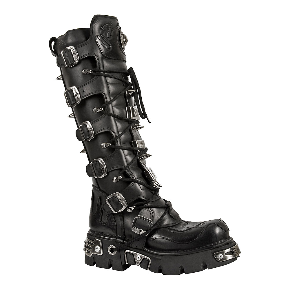 New Rock M.161-S1 Reactor Demon Flame Hohe Stiefel (Schwarz)