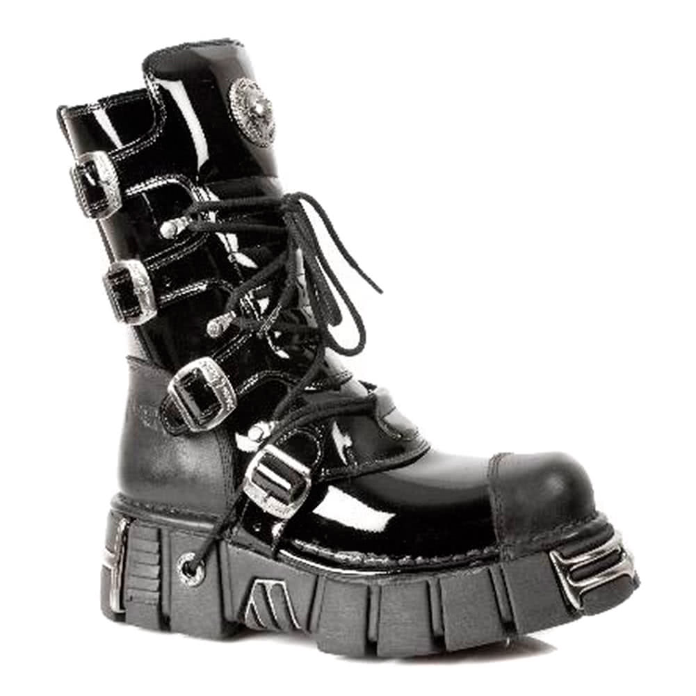 New Rock M.313-S1 Tower Patent Lack Stiefel (Schwarz)