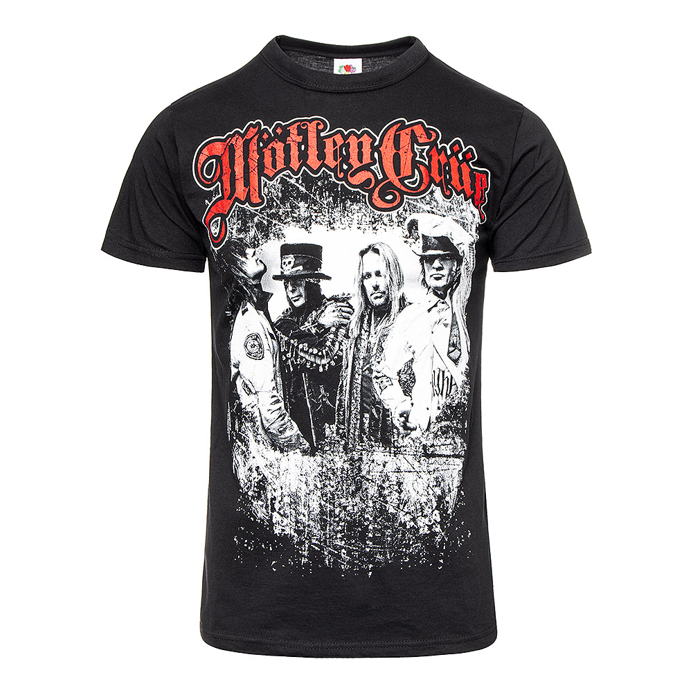 MOTLEY CRUE EMB BAND T-SHIRT BLACK MUSIC HARD ROCK SIZES COTTON OFFICIAL CONCERT