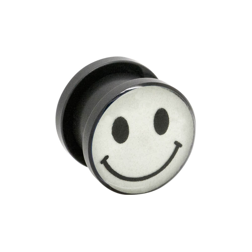 Blue Banana Acrylic Glow Smiley Ear Plug 6-12mm (White)