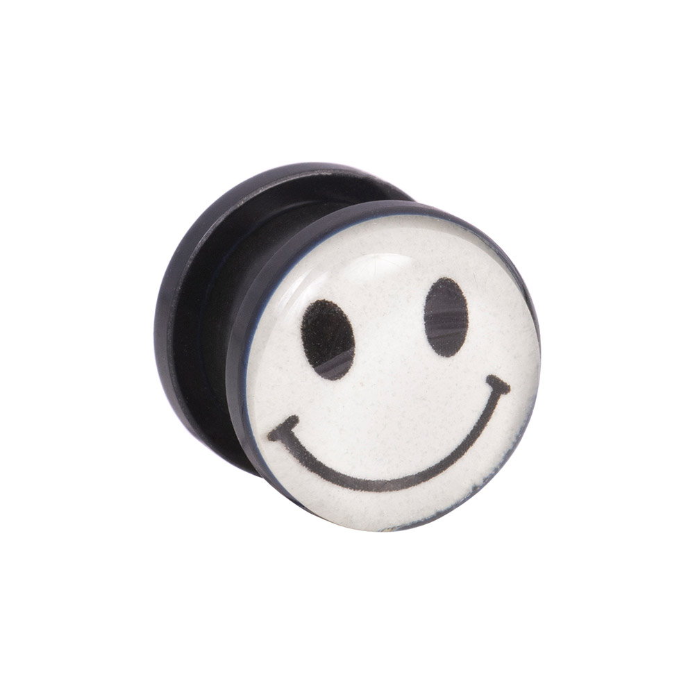 Blue Banana Smiley Phosphorescent Piercing Ecarteur Style Plug - 8mm