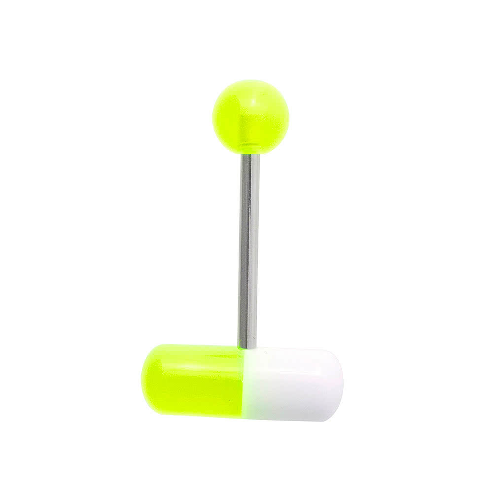 Blue Banana Surgical Steel 1.6mm Pill Tongue Bar (Green)