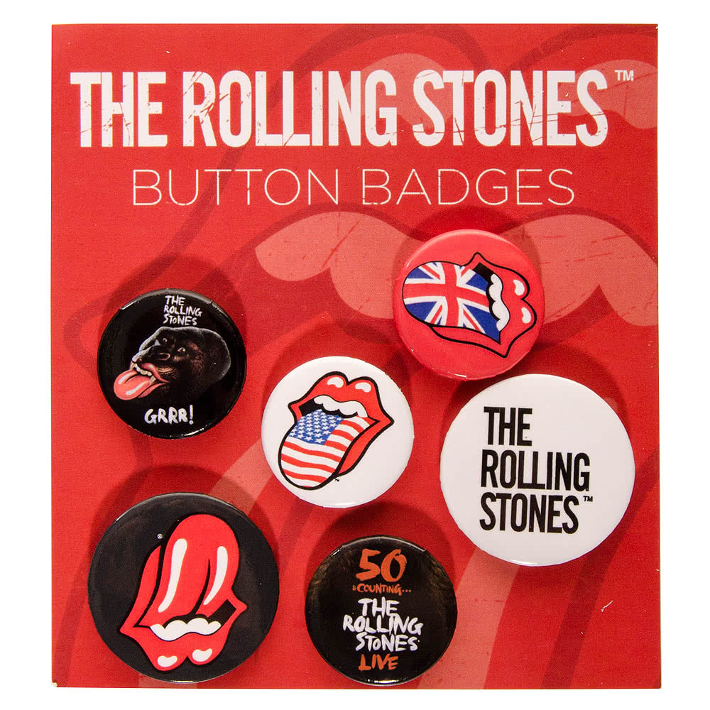 Official Rolling Stones Lips Badge Set