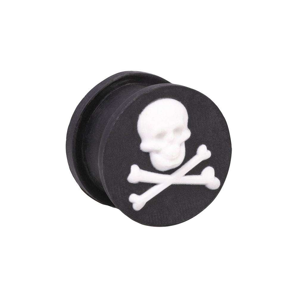 Blue Banana Silicone Skull & Crossbones Ear Plug 6-20mm (Black)