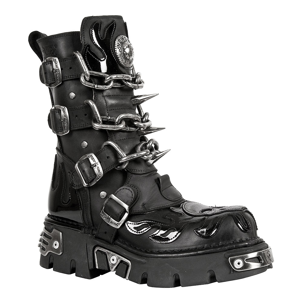 New Rock M.727-S1 Reactor Skull Flame Half Boots (Black)