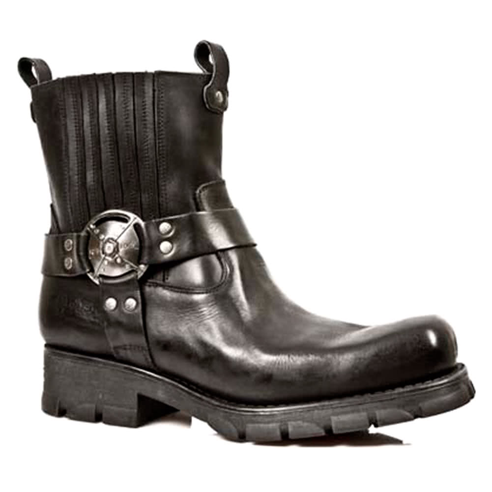 New Rock M.7605-S1 Motorcycle Ankle Boots (Black)