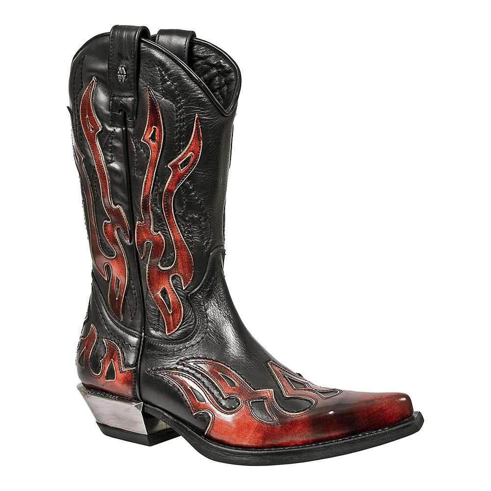New Rock M.7921-S2 West Cowboy Flame Boots (Black/Red)
