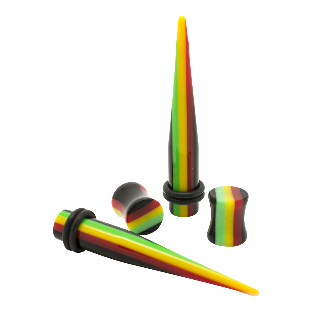 Blue Banana Acrylic Rasta Plug & Stretcher Kit (Multicoloured)
