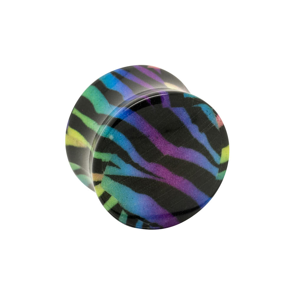 Blue Banana Acrylic Zebra Ear Plug 6-16mm (Multicoloured)