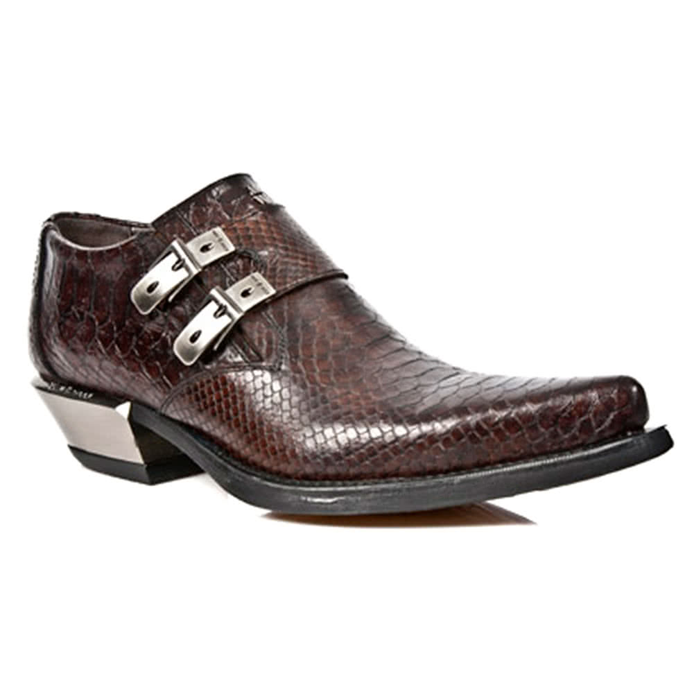 New Rock Style M.7934-S4 Crocodile Skin Cuban Heel Brown Shoes