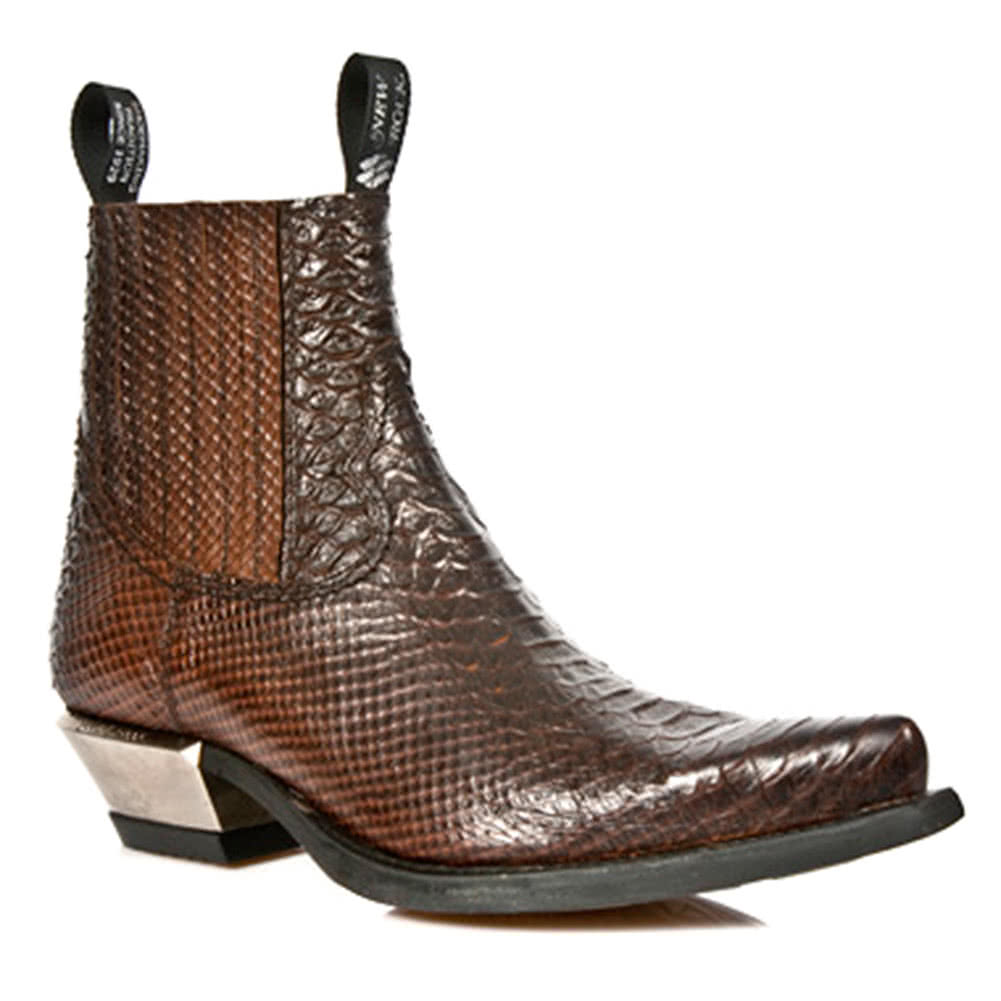 New Rock M.7953-S3 Snake West Ankle Boots (Brown)