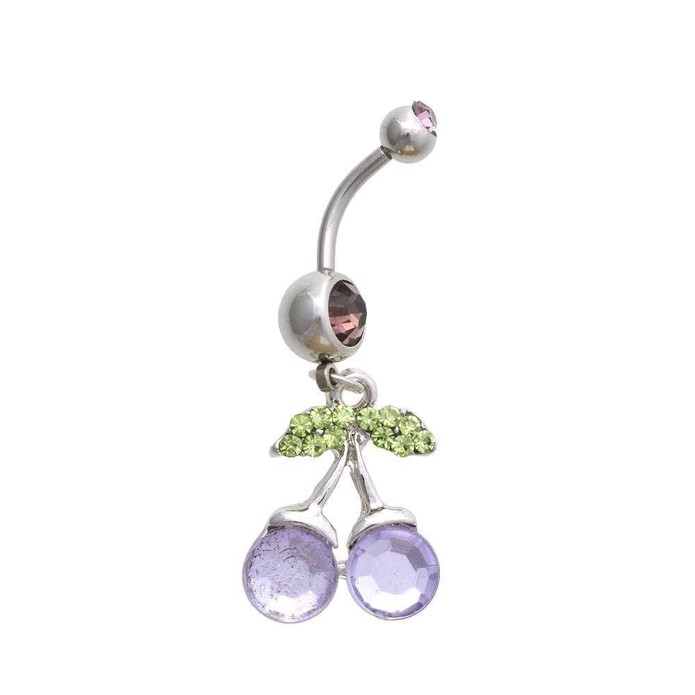 Blue Banana Surgical Steel 1.6mm Cherry Drop Navel Bar (Lilac)