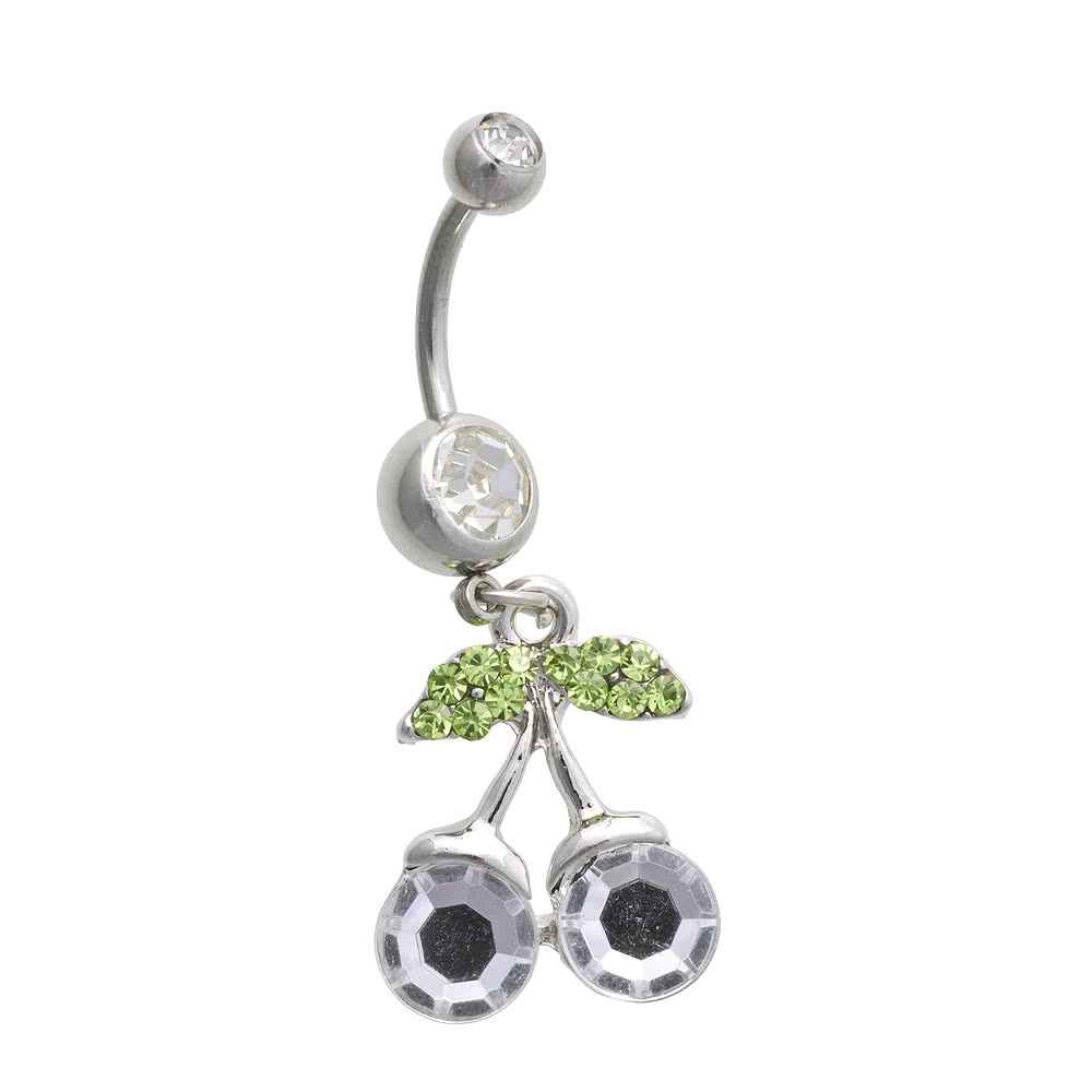 Blue Banana Surgical Steel 1.6mm Cherry Drop Navel Bar (Crystal)