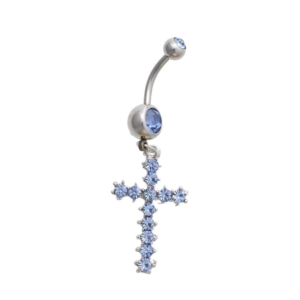 Blue Banana Surgical Steel 1.6mm Cross Crystal Navel Bar (Blue)