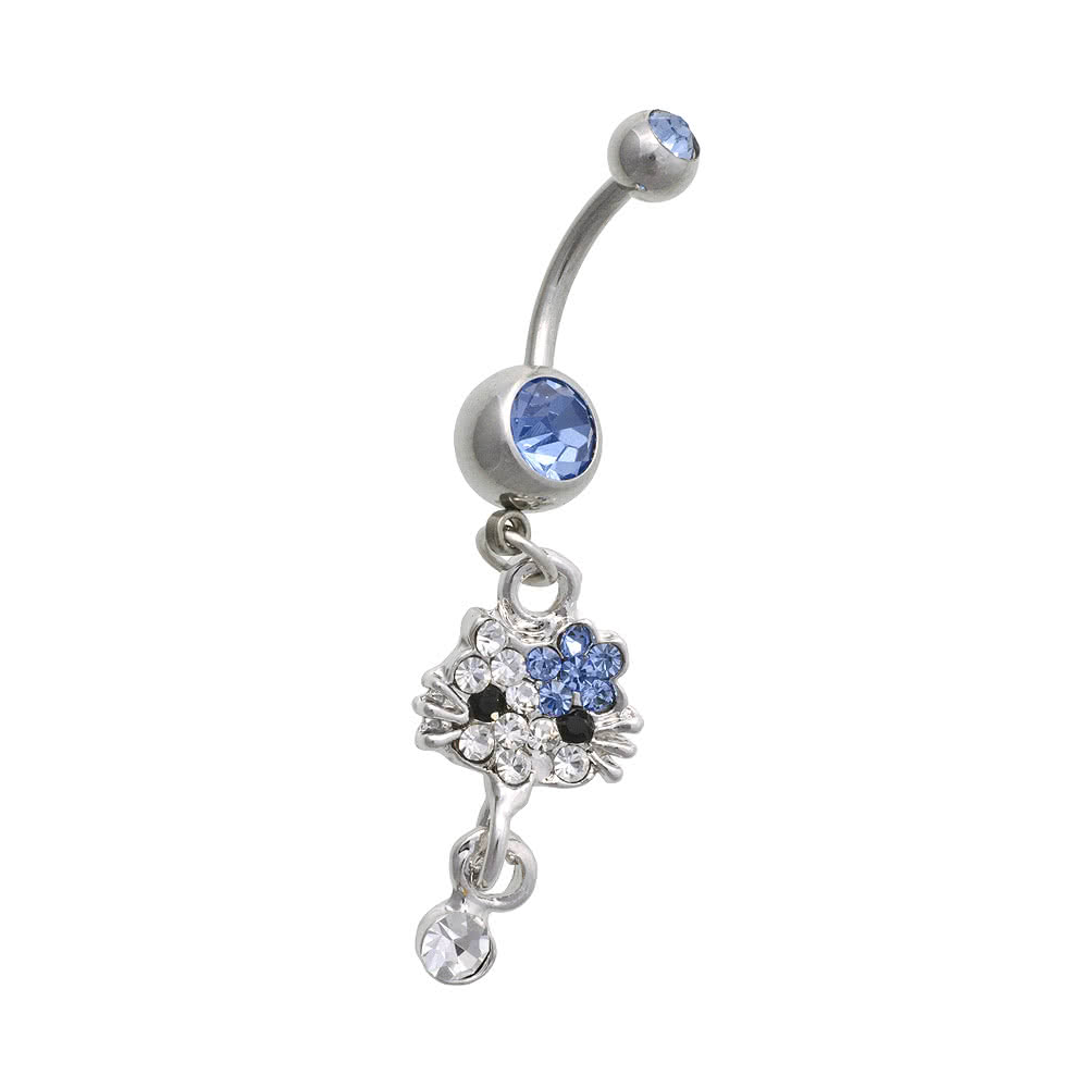 Blue Banana Surgical Steel 1.6mm Double Jewelled Cat Navel Bar (Blue)
