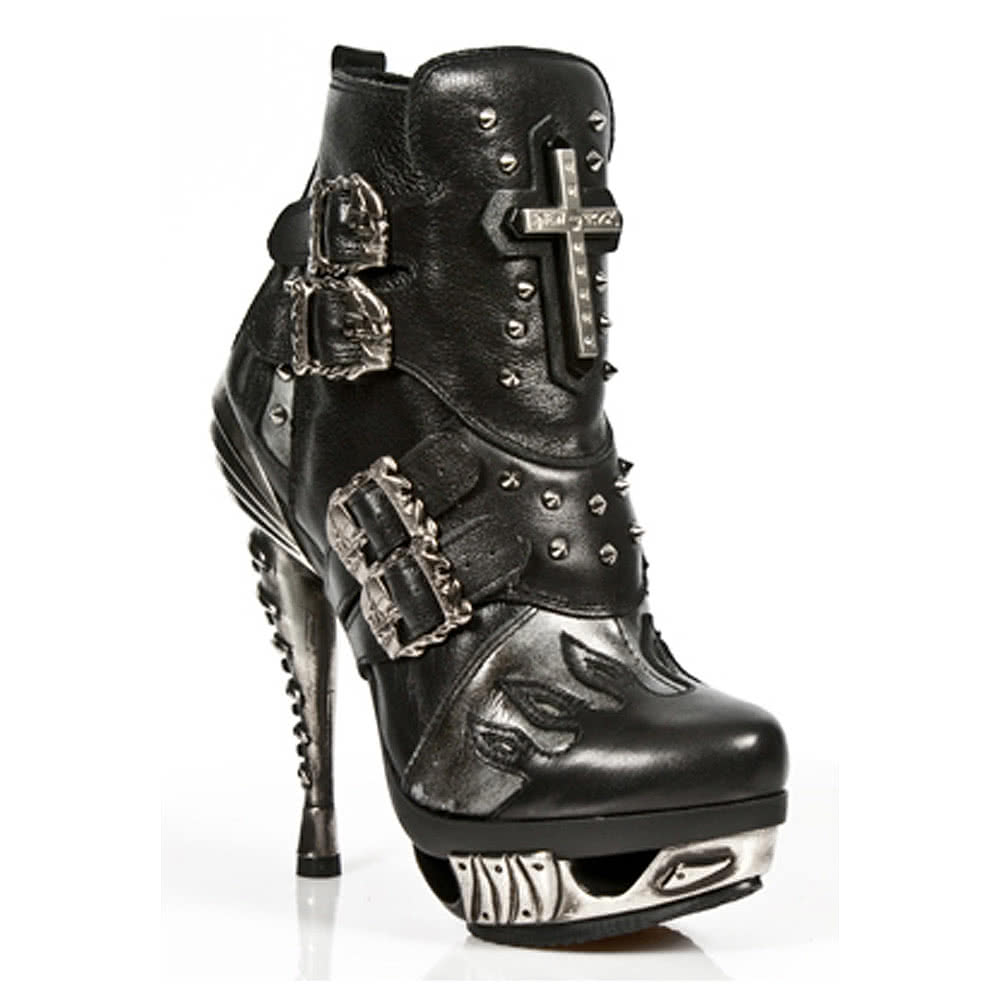 New Rock Style M.MAG005-S1 Crucifix Fancy Heel Boots (Black)