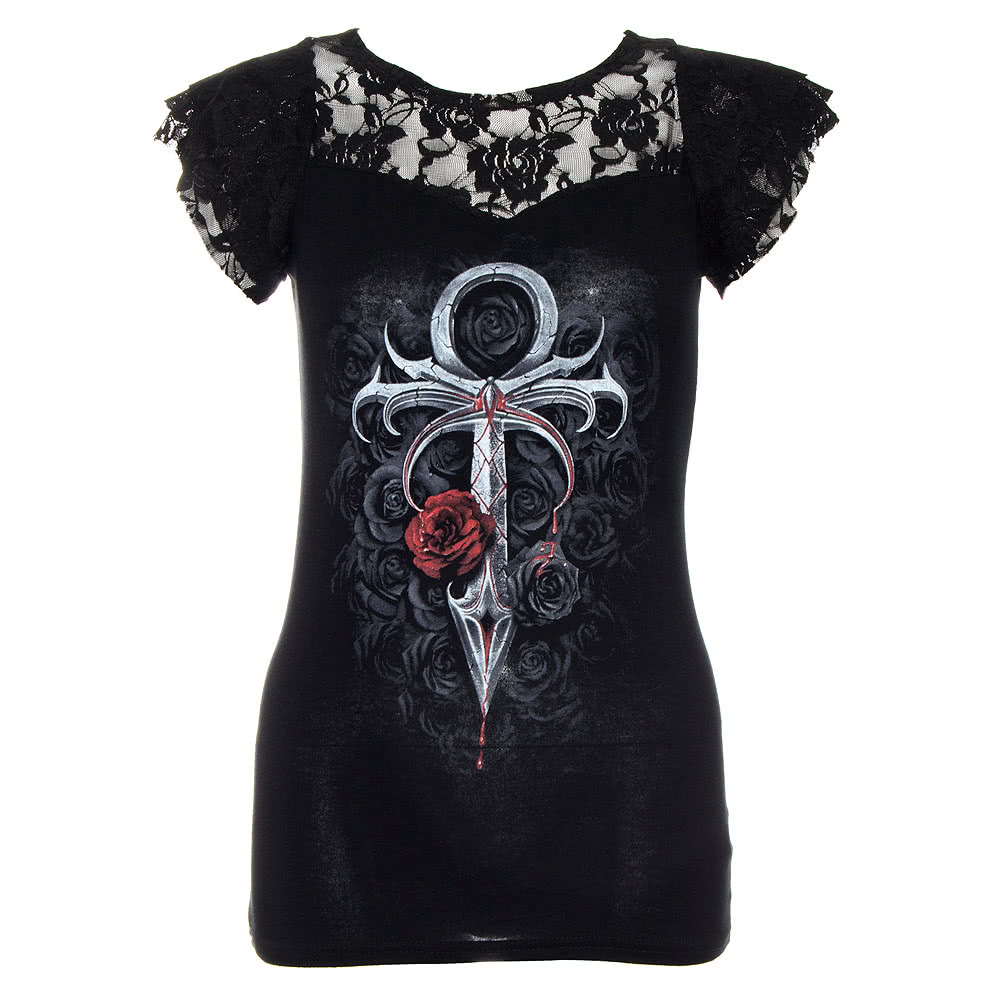 Spiral Direct Vampires Kiss Lace Top (Black)
