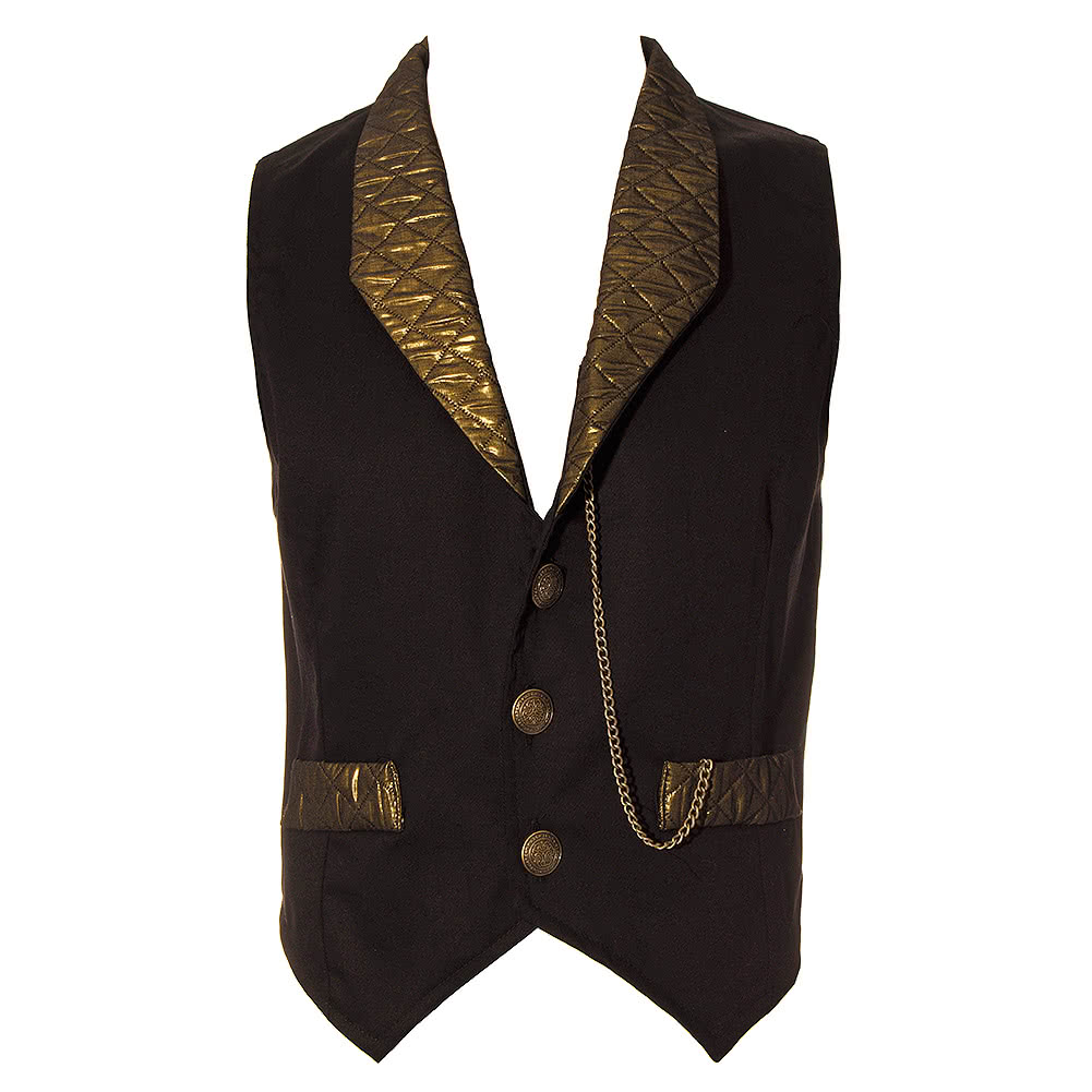 Golden Steampunk Duke Quilted Black and Gold Mens Waistcoat - Gothic : quilted waistcoat - Adamdwight.com