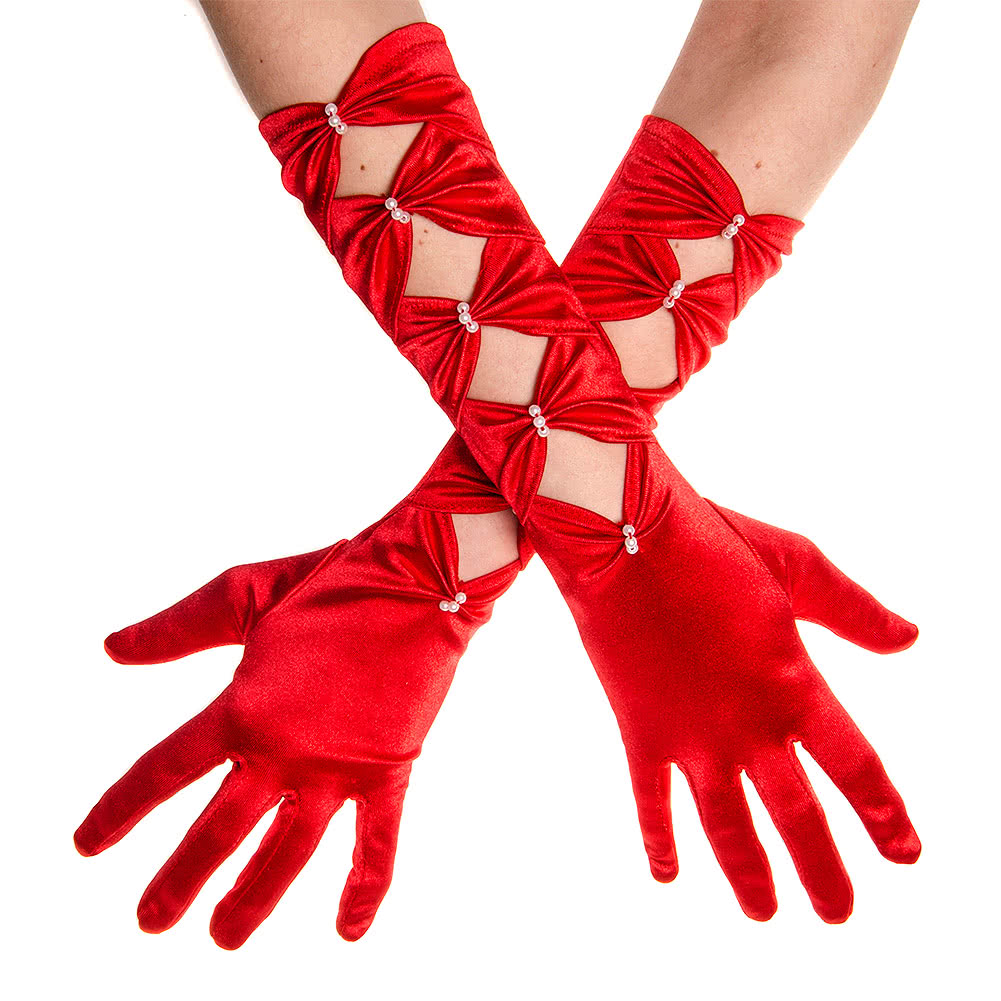 Blue Banana Long Satin & Pearls Gloves (Red)