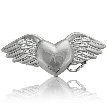 Blue Banana Heart & Wings Belt Buckle (Silver)