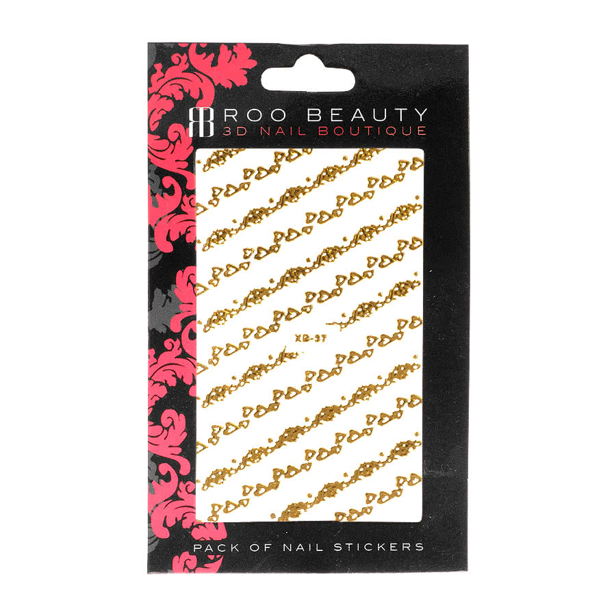 Nail Art Sheets XB-37 Small Heart Strips (Gold)