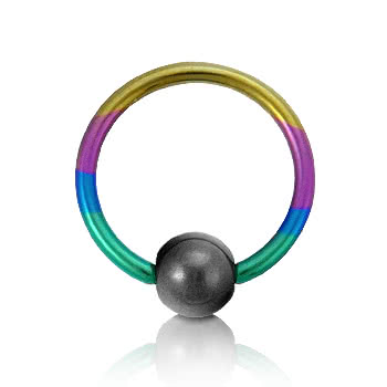 Blue Banana Coloured Titanium 1.2mm BCR (Rainbow)
