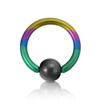 Blue Banana Coloured Titanium 1.6mm BCR (Rainbow)