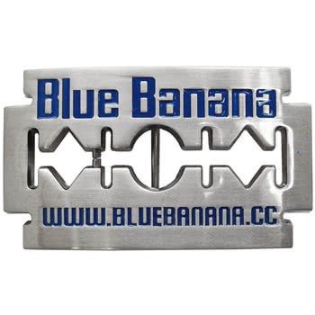 Blue Banana Razor Blade Belt Buckle (Silver)