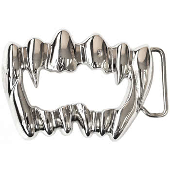 Blue Banana Vampire Teeth Belt Buckle (Chrome)