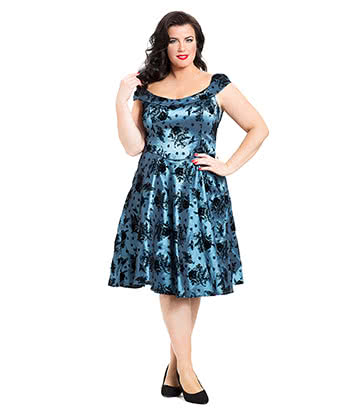 Voodoo Vixen Holly Plus Size Dress (Blue)