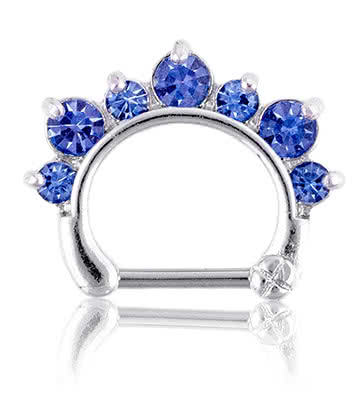 Blue Banana Rhodium Plated 1.2 x 8mm Jewelled Septum Clicker (Sapphire)