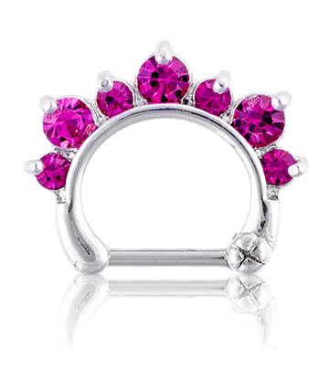 Blue Banana Fuchsia 1.2 X 8 Piercing Nez Septum Diamant (Rose)