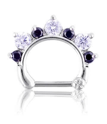 Blue Banana Noir & Crystal 1.2 X 8 Piercing Nez Septum Diamant