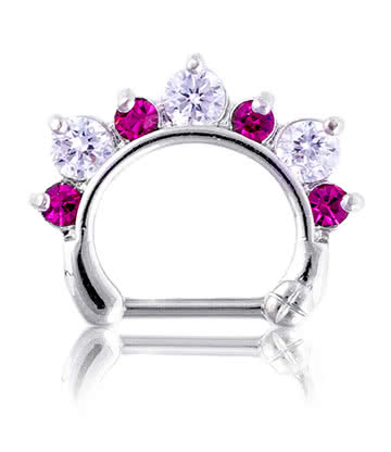 Blue Banana Rhodium Plated 1.2 x 8mm Jewelled Septum Clicker (Fuchsia)