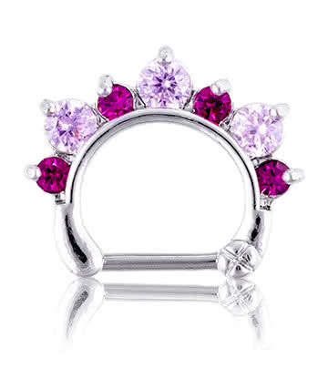 Blue Banana Rhodium Plated 1.2 x 8mm Jewelled Septum Clicker (Rose/Fuchsia)