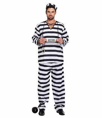 Prisoner Striped Fancy Dress Costume (Black/White)