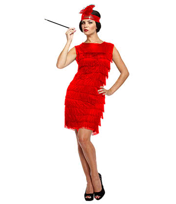 Flapper Girl Fancy Dress Costume (Red)