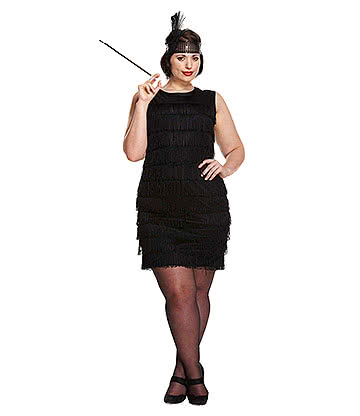 Costume Fancy Dress Flapper Girl Plus Size (Nero)