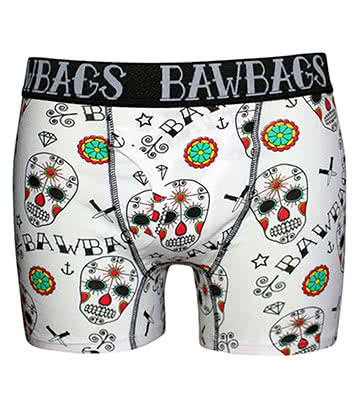 Bawbags Day Of The Dead Boxers (White)