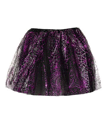 Blue Banana Web Tutu - Jupon Court Gothique (Noir/Violet)