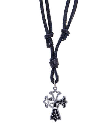 Leather Gothic Cross Necklace (Black)