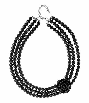 Rose Bead Necklace (Black)