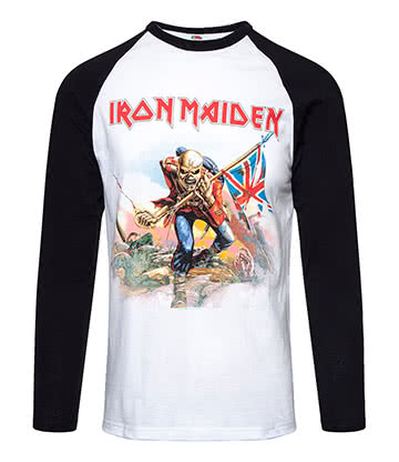 Official Iron Maiden Trooper Baseball Top (Black/White)