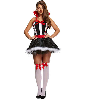 Costume Fancy Dress Queen Of Hearts (Nero/Bianco/Rosso)