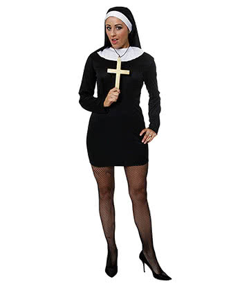 Blue Banana Sexy Nun Fancy Dress Costume (Black)
