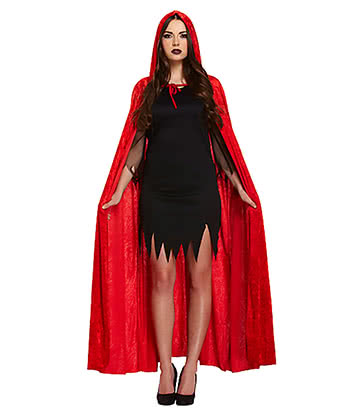 Fancy Dress Velvet Devil Cape (Red)