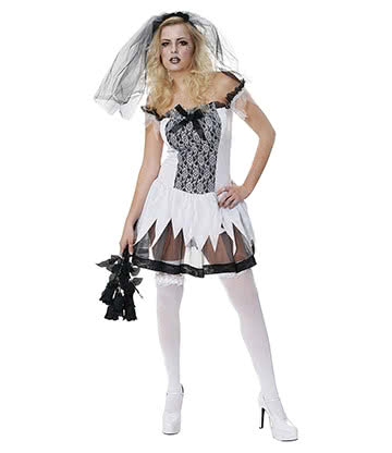 Blue Banana Sexy Zombie Bride Fancy Dress Costume (Black/White)