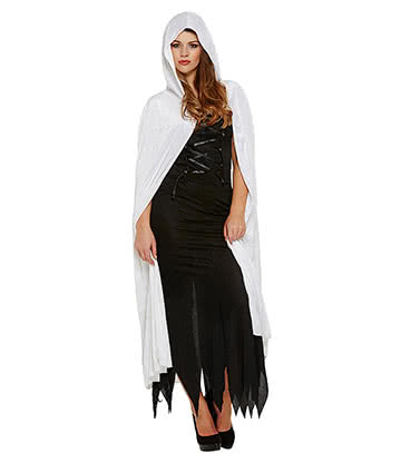 Blue Banana Velvet Devil Fancy Dress Cape (White)