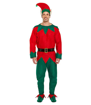 Blue Banana Xmas Elf Fancy Dress Costume (Green/Red)